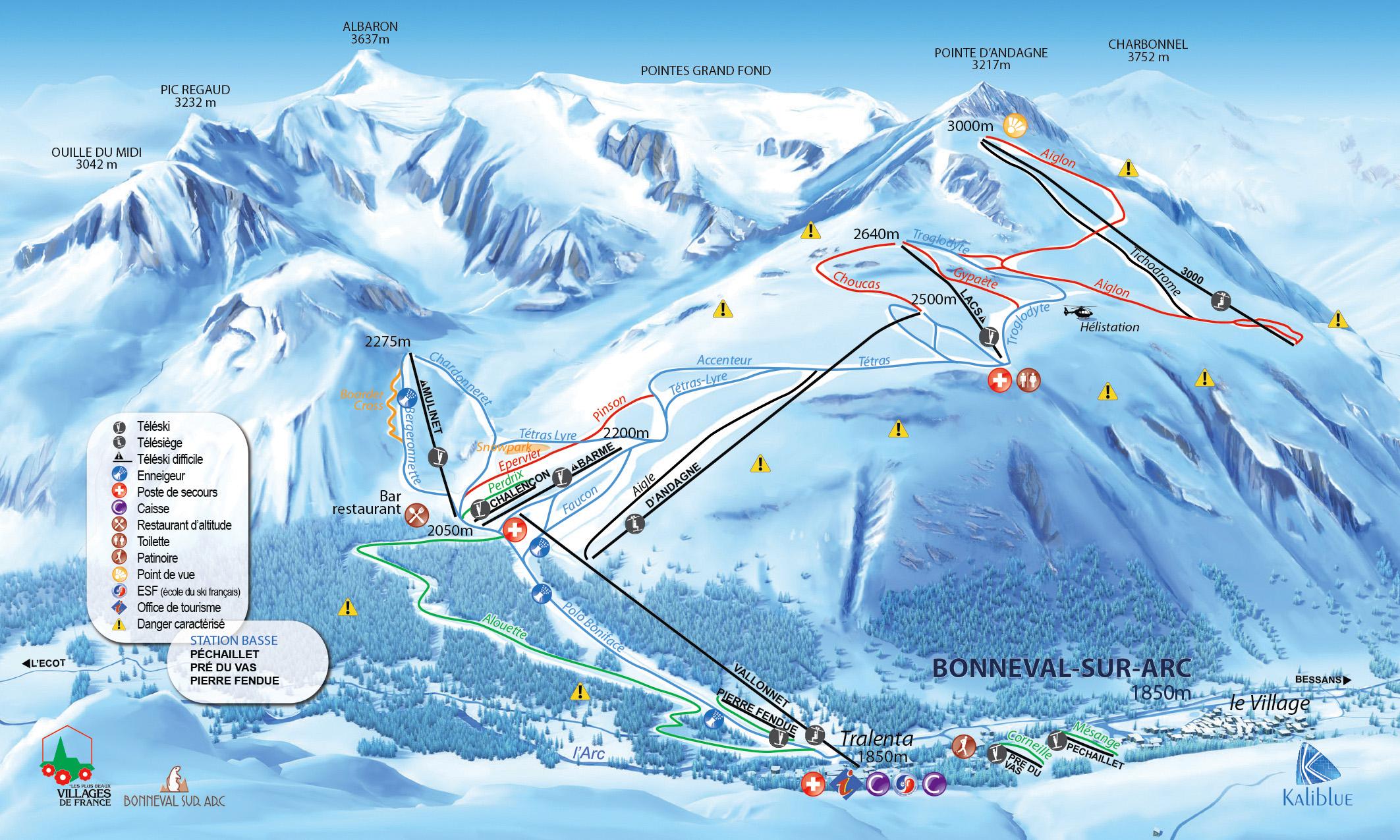 Plan des pistes de Ski Bonneval-sur-Arc